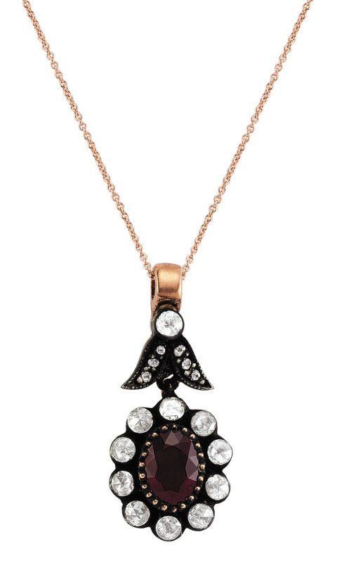 Victorian Rose Cut gold diamond and ruby necklace 8K Jewelry