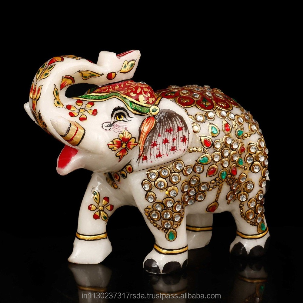 Jewelled Elephant Statue Animal Trunk Up Lucky Marble Stone Painted Figurine Art Fengshui Gifts