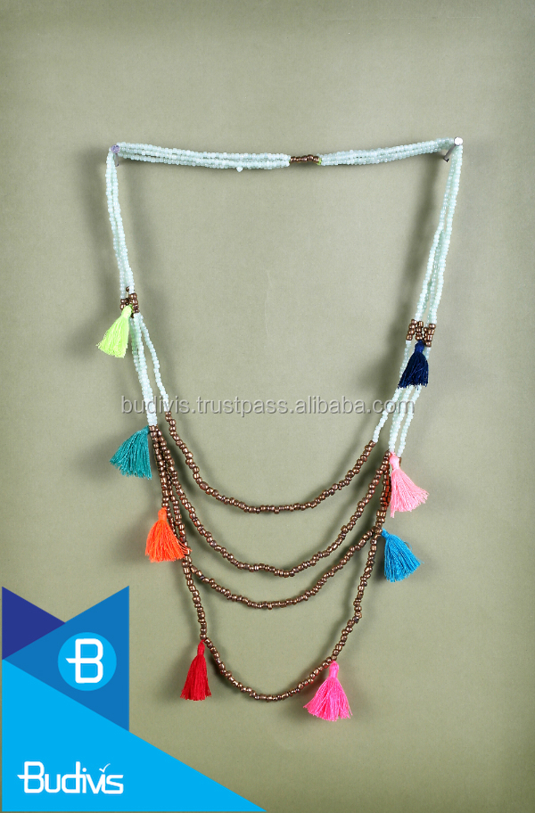 Top multi layer beaded tassel necklace wholesale