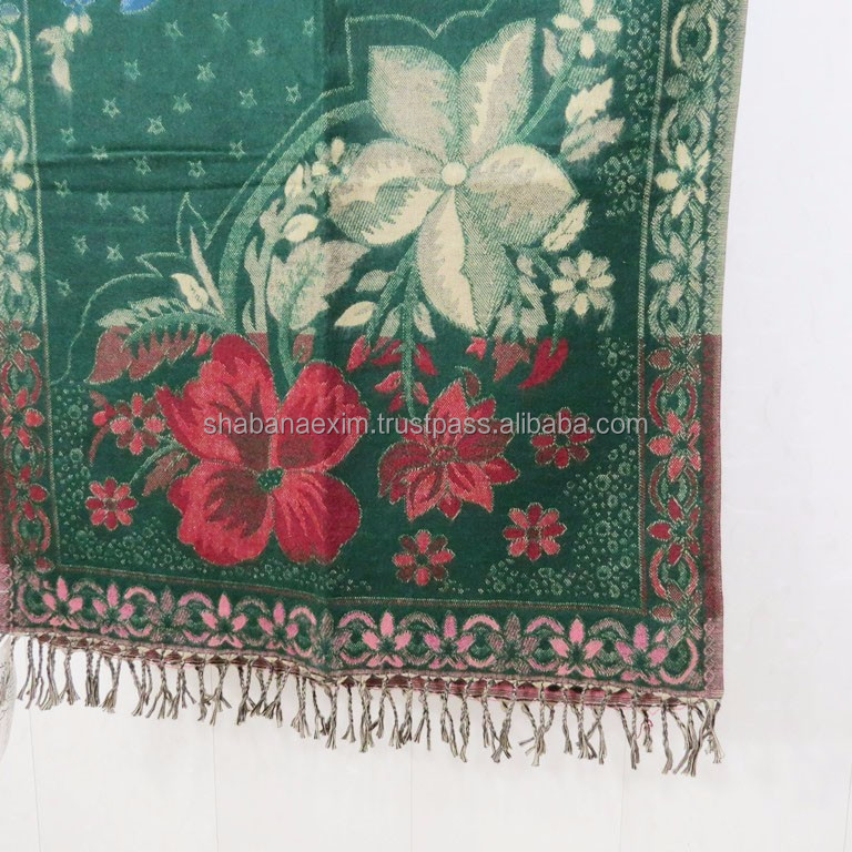 Embroidered acrylic shawl Woolen long blanket winter scarf Shawls India