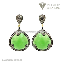 real diamond pave setting silver handma Chrysoprase Drop Earrings natural green chrysoprase stone drop earrings