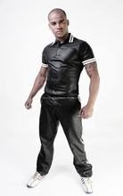 Leather shirt black leather leather polo shirt white black new shirt FC-8410