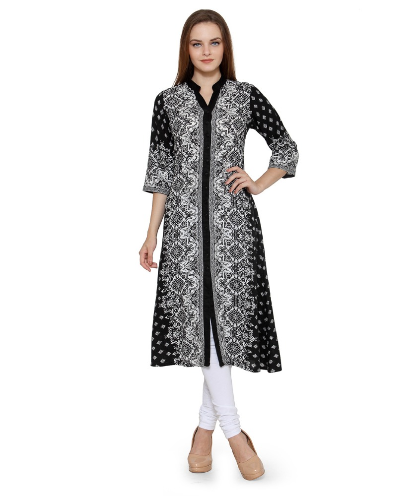 Women Ethnic - Ladies Casual Printed Front Open Flare Kurta - Chinese collar, 3/4th Sleeve - 100% Cotton Fabric - OEM Wholesale