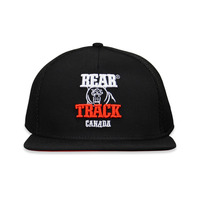 Mesh Back Cap - 5 Panel With Peak - Fabric: Soft Mesh & Cotton Twill - Crown: Medium - Visor: A-Frame - Color: Black & Scarlet R