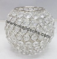 Table Decorations Crystal Bowl and Crystal Votive With Aluminium Pillar