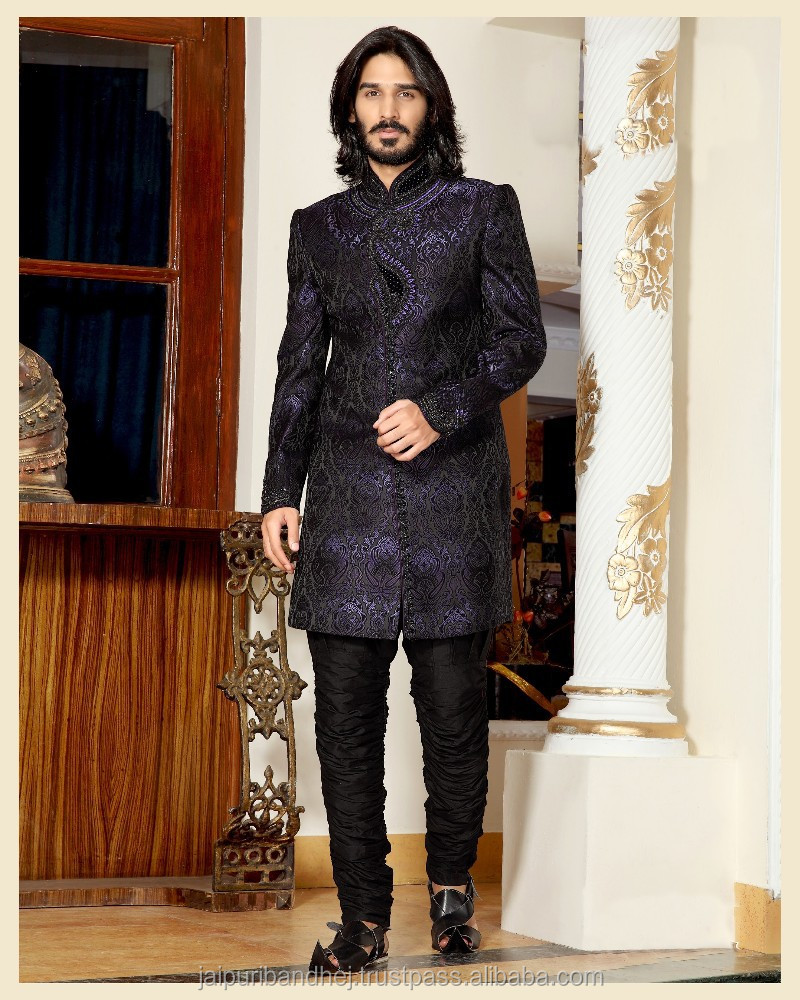 Black, Deep Purple color Brocade Sherwani
