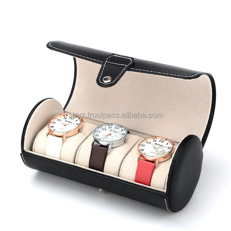 Cylinder 3 Slot Watch Display Organizer Holder Box,3 Colors