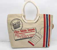 Designer Printed Jute- Cotton Cost effective Shopping Bag - 48 x 30 Cm ( Bottom 12 Cm.)
