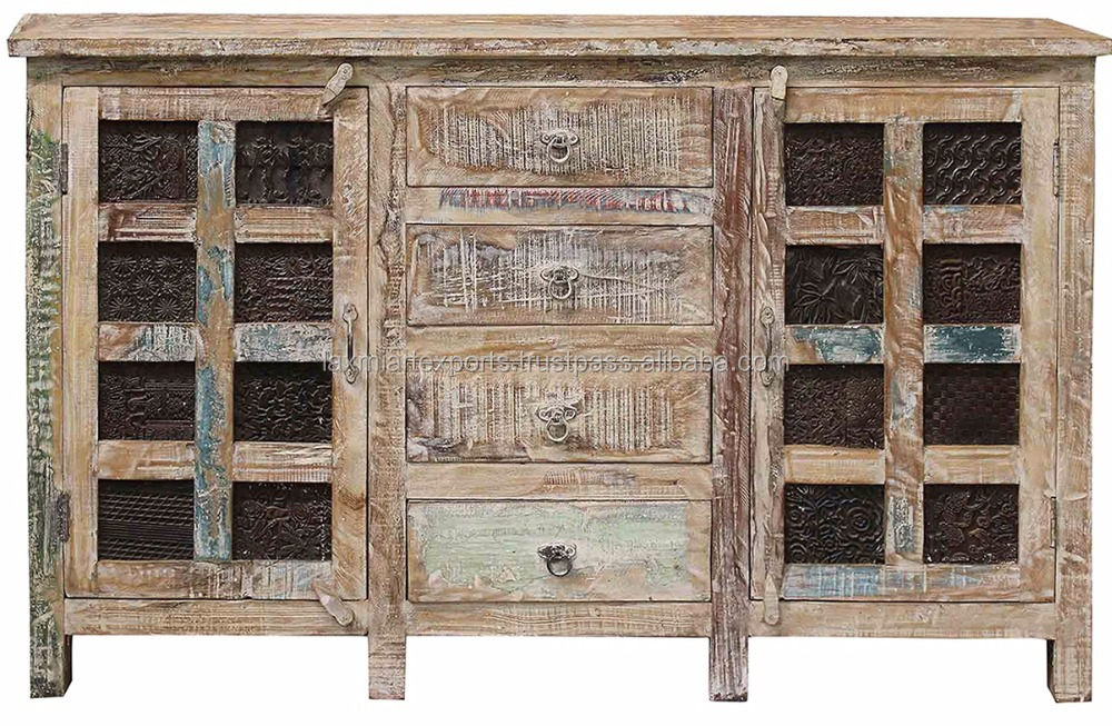 Reclaimed Distressed Finish Sideboard 2 Door 4 Drawer Sideboard