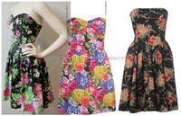 Summer floral prom dress retro strapless top-shop new look Girls party wear cocktail dresses in cotton printed fabric