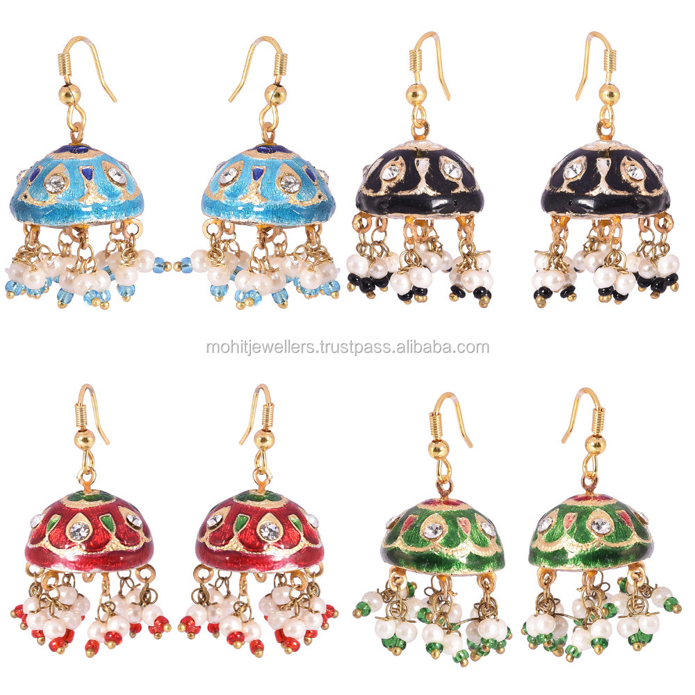 indian style multi color hoop style traditional lakh jhumka