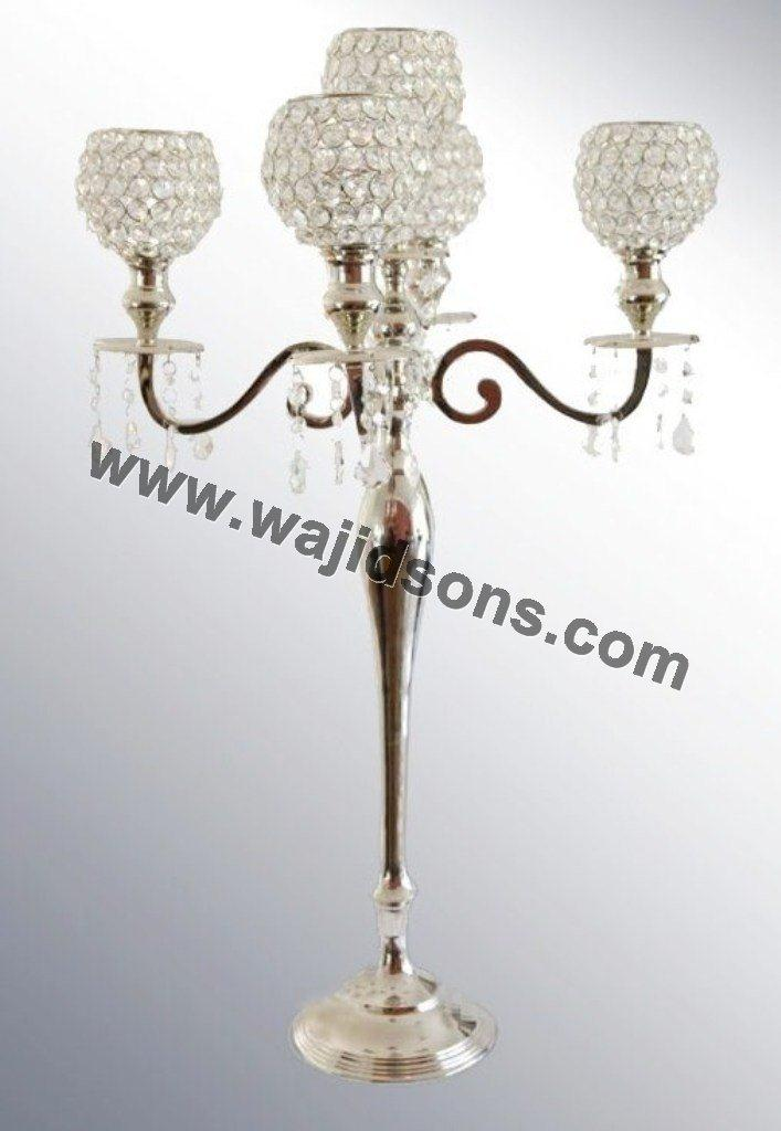 beautiful crystal candelabra centrepieces wholesale, LED light candelabra with metal cover for wedding decoration
