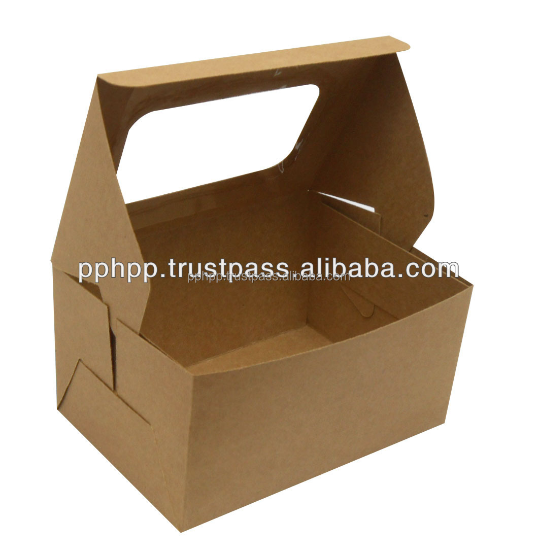 "CAKE BOX WITH WINDOW 6x4x3"" (KRAFT)"