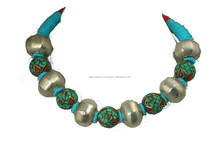 Daily Deals Natural Nepali Turquoise, Red Coral Silver Balls Necklace