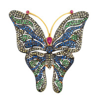Superb 2015 wholesale jewellery sapphire beautiful Butterfly brooch for sale butterfly gemstone pave diamond brooches