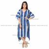 Women Gown Boho Floral Long Dress Blue Tunic Casual Wear Indian Kaftan Caftan