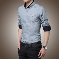 Latest design for men slim fit French cuff men casual dress shirt