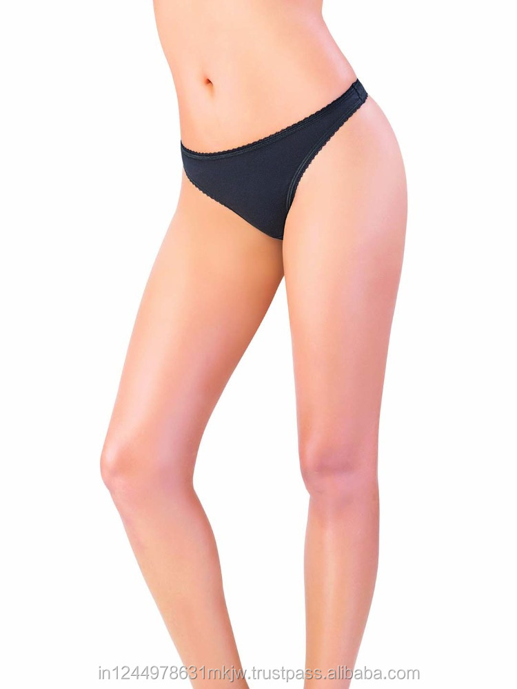Thong Cotton Lycra Black women's Panty