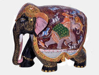 2016 New Pattern Painted Wooden Elephant with Hunting Scene For Sale