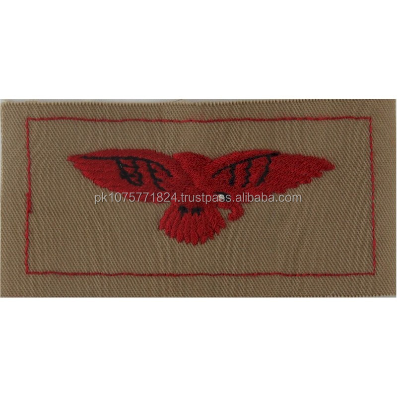 machine embroidery badges RAF Arm Eagle - Desert Pattern FR - Red On Sand Embroidered Air Force Badge