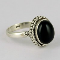 Store Of Love !! Black Onyx 925 Sterling Silver Ring, Express Delivery !! Discounted Prices, Rings From India