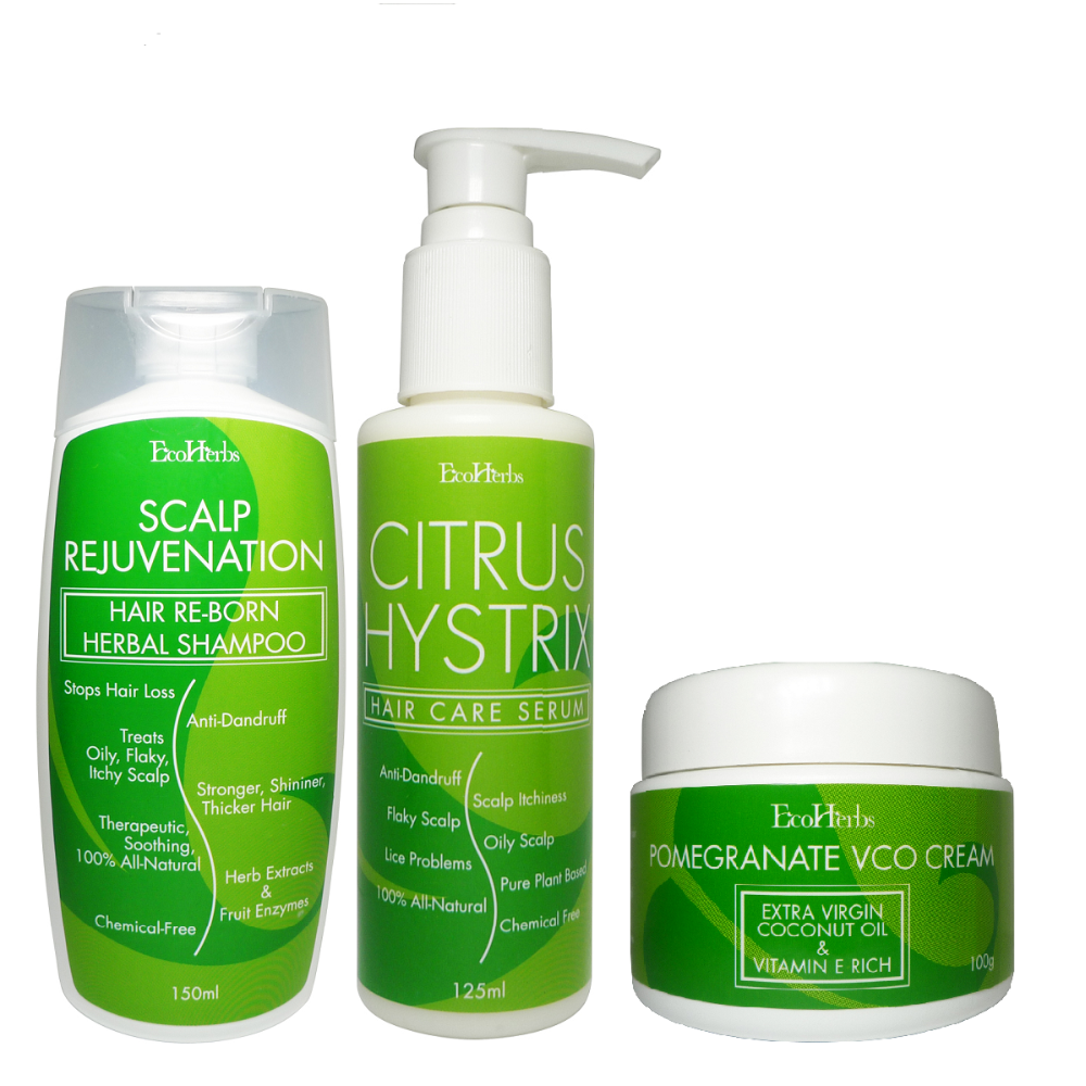 EcoHerbs Citrus Hystrix Package Value Complete Set For Beginning & Serious Cases Dandruff, Oily/Itchy/Dry/Flaky Scalp, Lice