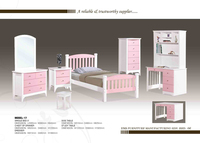 kid bed single bed wood with pink & white 17