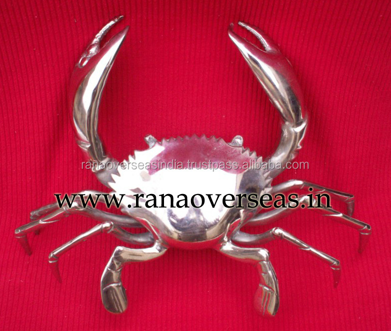 Aluminium Metal Decorative Polished Crab - Metal Art Figurines