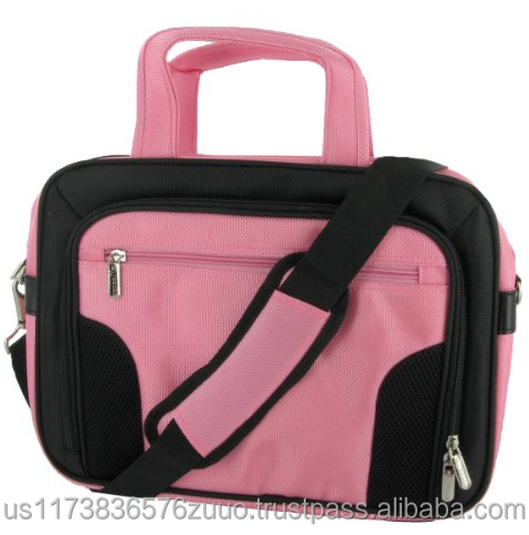 roocase 10 inch deluxe carrying laptop bag with Padded netbook compartment with velcro strap, Big storage compartments (Pink)
