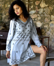 New Arrival Summer Embroidery Cotton Beach Kaftans for Woman