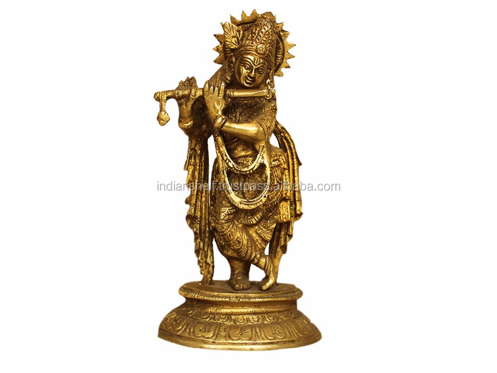 Indian Handmade Brass Multicolor Bronze Krishna 7.3 x 3.9 Inches SMG-100-1
