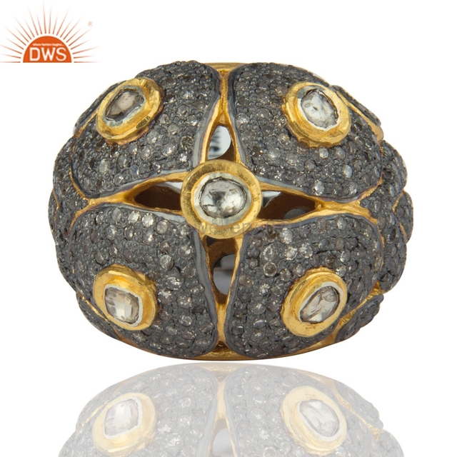 Rose Cut Diamond Pave 925 Sterling Silver Unique Wedding Ring 22K Gold Plated Jewelry Supplier And Manufacturer