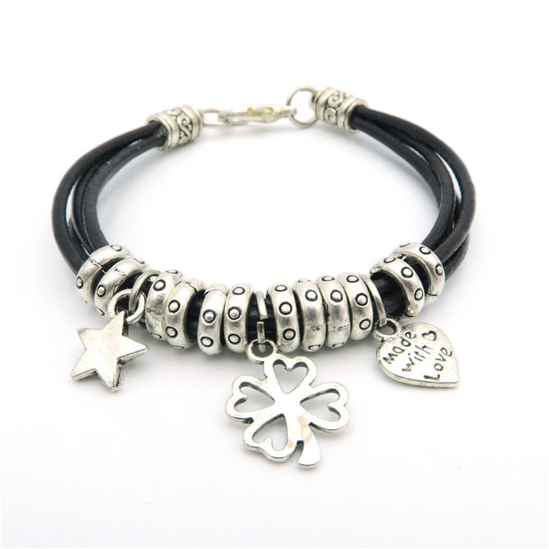 clover with star made with love women Bracelet - Leather - Handmade BR-149