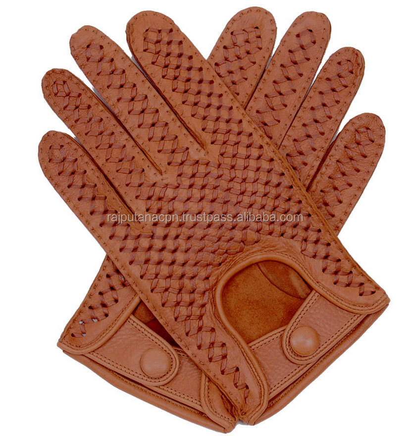 Men's Leather Classic Driving Gloves Brown