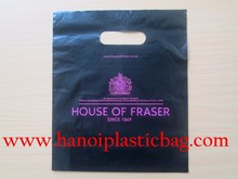 LDPE reinforced die cut handle bags Patch handle bag