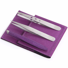 Tweezers Set Of Three- Includes CASE With Magnifying Mirror