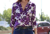 Best favorite Royal purple color leaf print design Women Long Sleeve V Neck Chiffon Floral Print Tops Blouse T Shirt Sexy Casual