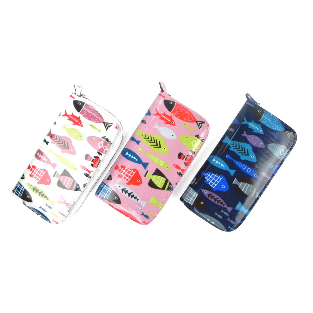 JCwholesale factory price wholesale quality Swimming Fish Print Long Purse ladies purse