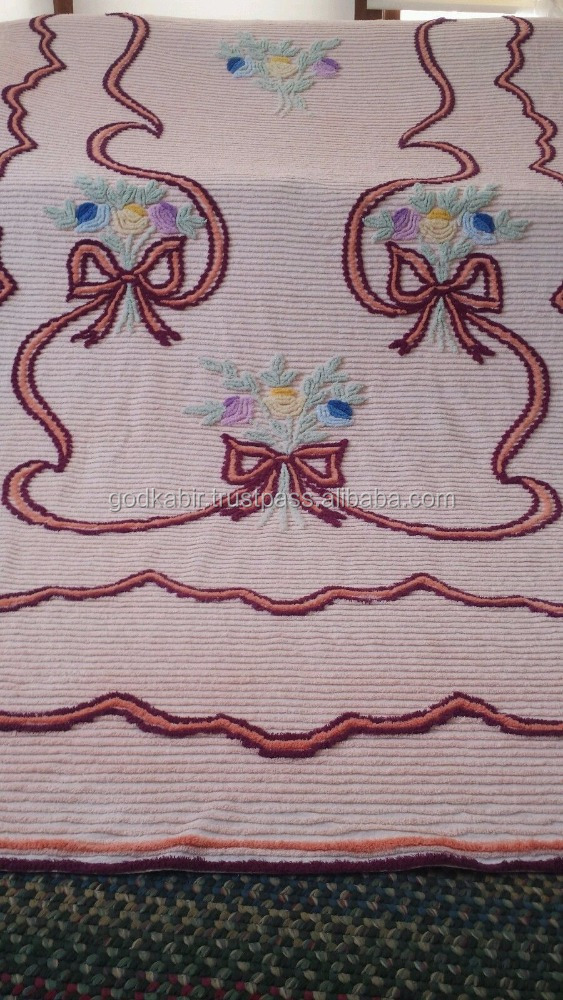 Vintage Peach Full Ribbons And Bows Chenille Bedspread Quilt Blanket Shabby linen quilt for sale.