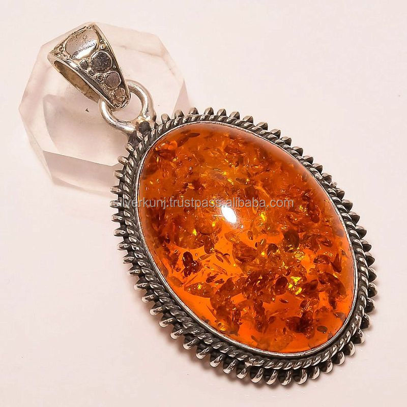 solid 925 sterling silver pendant, baltic amber gemstone pendant