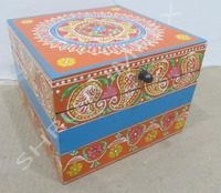 BEAUTIFUL ORANGE COLOR HANDMADE WOODEN BOX RANGOLI DESIGN FOR HOME DECOR AND GIFT SIB-18B