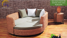Luxury natural wicker rattan sofa set leather sofas and home furniture (water hyacinth hand-made woven and acasia wooden frame)