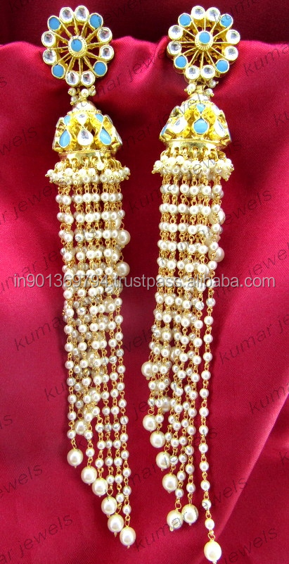 Kundan Jhumka Tassel Earrings