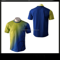 100% Polyester Half Sleeves full Sublimated Men T-Shirt in Blue Yellow design