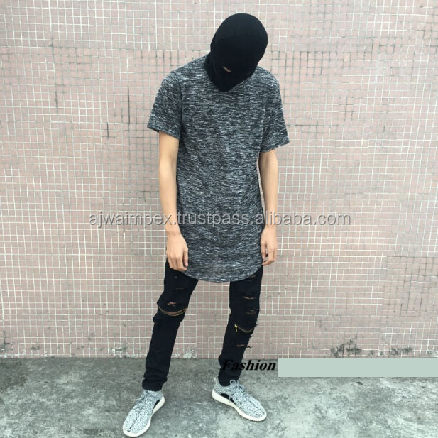 New-Fashion-HipHop-Mens-Curve-Slate-Oversized-T-Shirt-Mix-font-b-Elongated-b-font-Summber