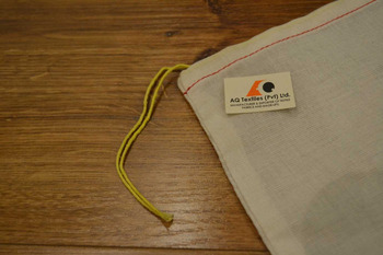 5 x 7 Drawstring Parts Bag (Muslin Bag) with Yellow + Red Hem