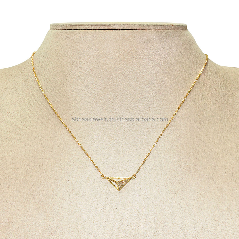 Pave diamond connector fashion inspired 18kt solid gold chain triangle necklace hot jewelry