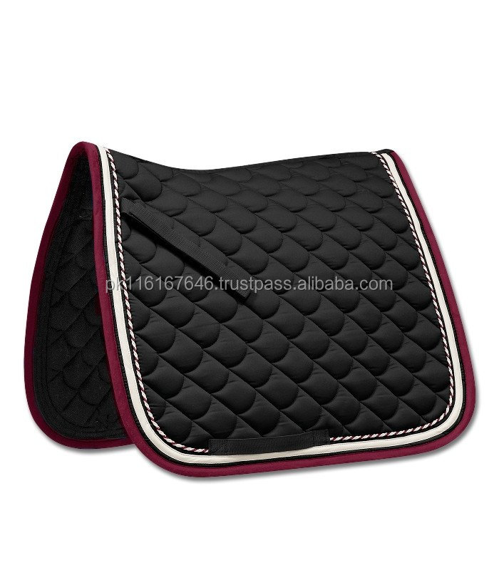 Black Horse Saddle Pad Model 002 Equestrian White and Red Border Contrast Horse Equipments