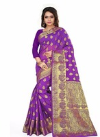 Purple cotton printed saree