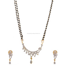 Be You Contemporary White Diamond Look Rhodium Plated Brass Mangalsutra for Women